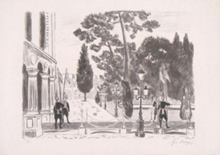 Litografía Brayer - L'entree du palais