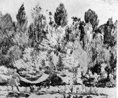 Aguafuerte Castellani - Lenzuola al sole