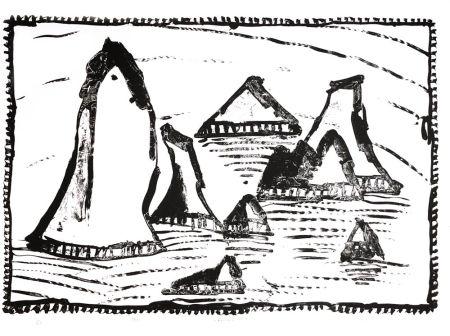 Litografía Alechinsky - Les Aiguilles de Belle-Ile, Ier état