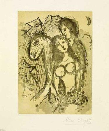 Grabado Chagall - Les amoureux au cheval