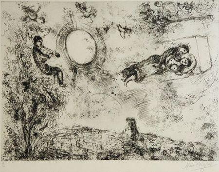 Aguafuerte Chagall -  Les Amoureux Dans Le Ciel De Saint Paul