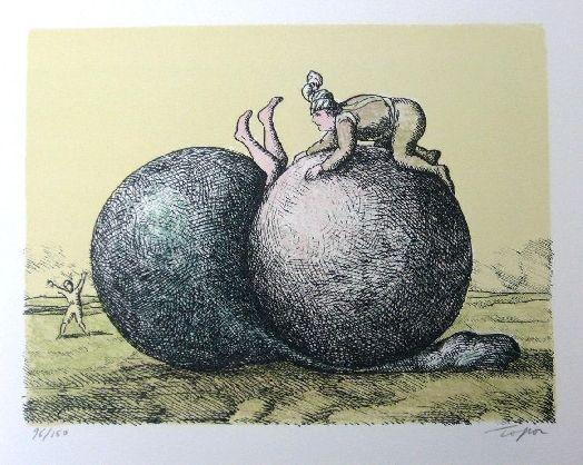 Litografía Topor - Les boules