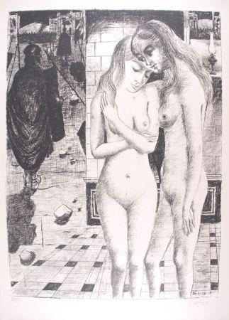 Litografía Delvaux - Les Captives