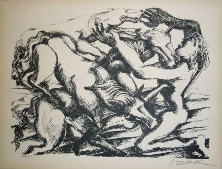 Litografía Zadkine - Les cavales de Diomède