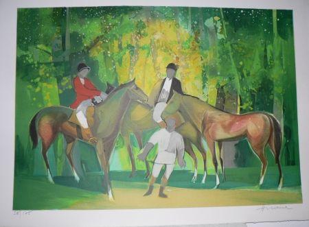 Litografía Hilaire - Les Cavaliers