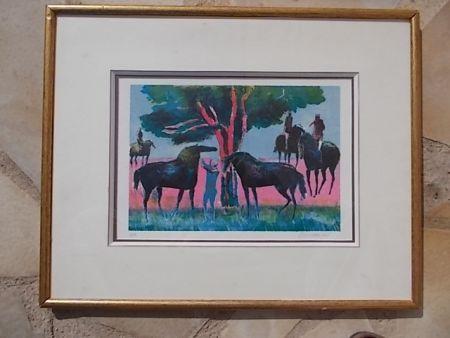 Litografía Guiramand - Les cavaliers