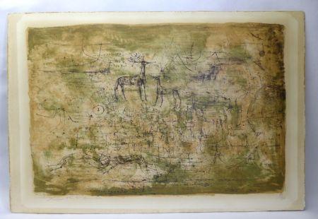 Litografía Zao - Les cerfs