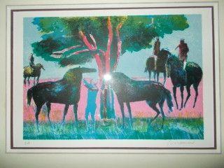 Litografía Guiramand - Les chevaux et les cavaliers