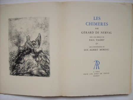 Libro Ilustrado Moreau - Les Chimères, par Gérard de Nerval. Avec une préface de Paul Valéry & des lithographies de Luc-Albert Moreau