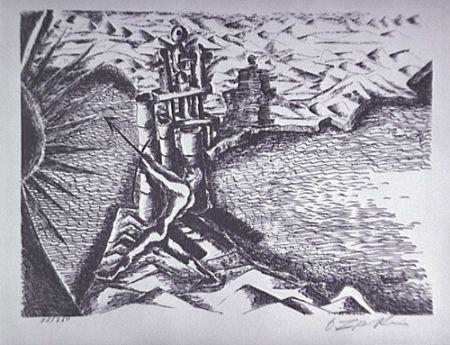 Litografía Zadkine - Les Colonnes d'Hercule