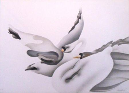 Litografía Donadini - Les cygnes