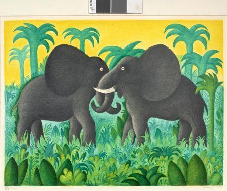 Litografía Scherfig - Les deux éléphants