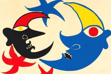 Litografía Calder - Les deux lunes