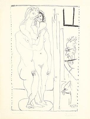 Litografía Picasso - Les deux modèles nus