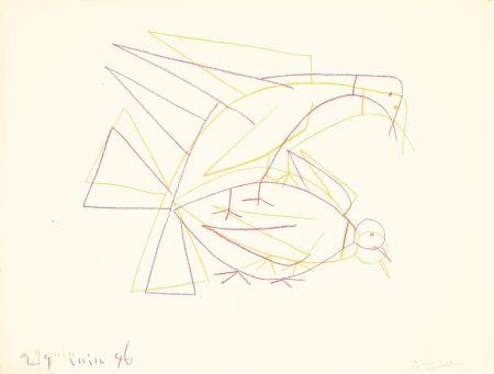Litografía Picasso - Les deux tourterelles doubles