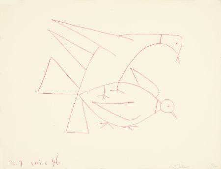 Litografía Picasso - Les deux tourterelles, I