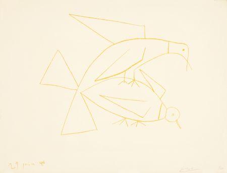 Litografía Picasso - Les deux tourterelles, II