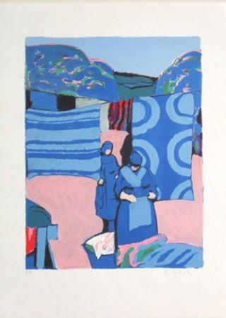 Litografía Godard - Les draps bleus