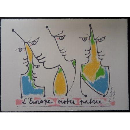 Litografía Cocteau - Les fondateurs de l'Europe