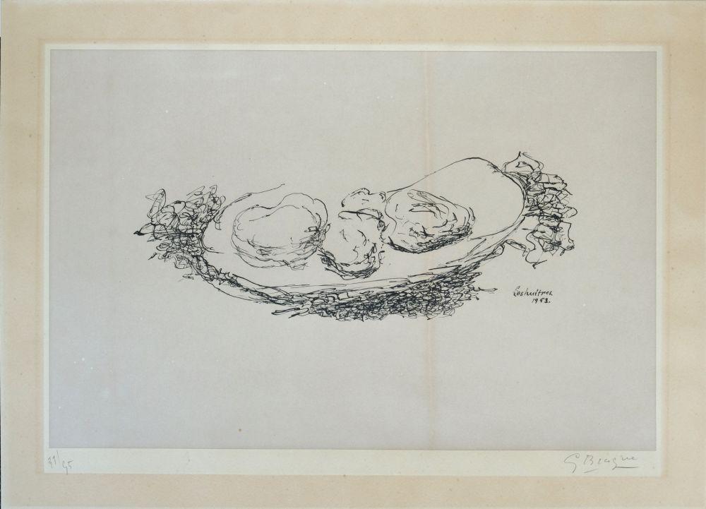 Litografía Braque - Les Huitres