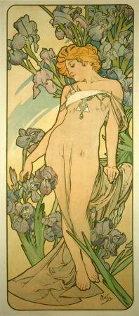 Litografía Mucha - Les Iris