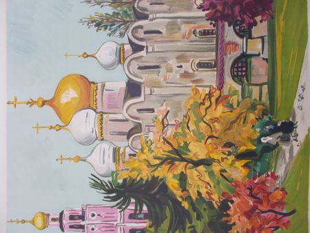 Litografía Brayer - Les jardins du Kremlin