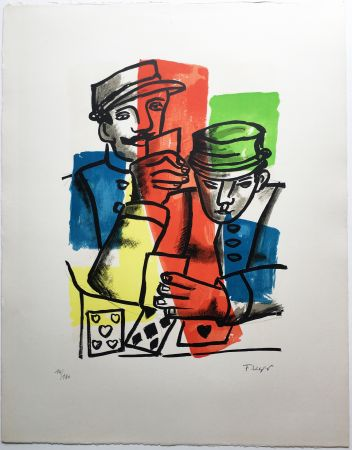 Litografía Leger - LES JOUEURS DE CARTES (La Ville, 1959).