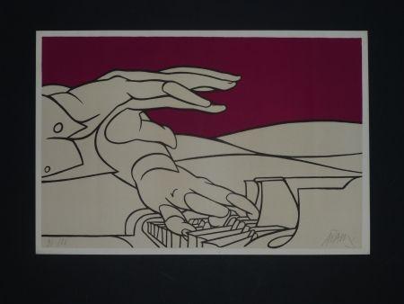 Litografía Adami - Les mains du pianiste
