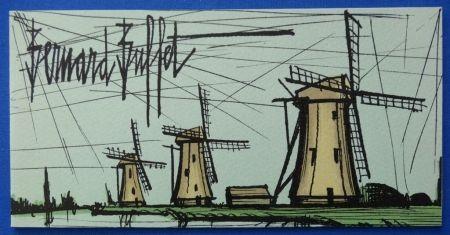 Litografía Buffet - Les moulins
