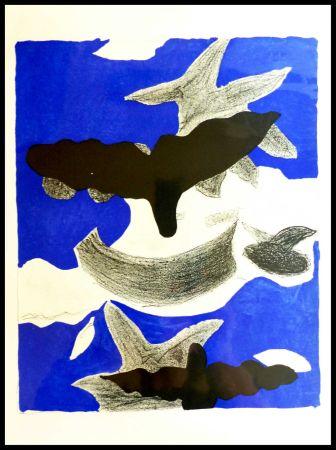 Litografía Braque (After) - LES OISEAUX FOND BLEU
