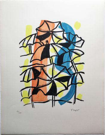 Litografía Leger - LES PARAPLUIES (La Ville, 1959)
