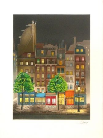 Litografía Lecoindre - Les platanes