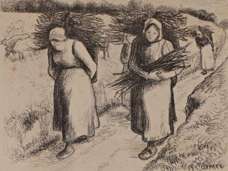 Litografía Pissarro - Les porteuses de fagots