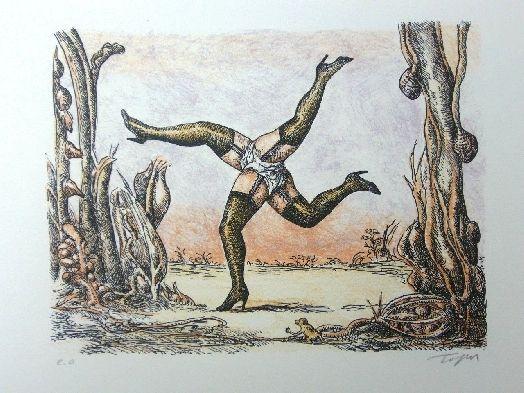 Litografía Topor - Les quatre jambes