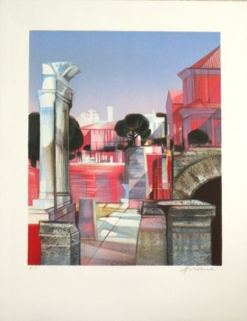 Litografía Hilaire - Les ruines romaines