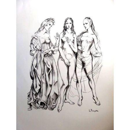Litografía Foujita - Les Trois Graces