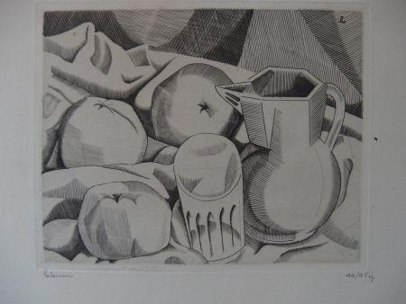 Grabado Laboureur - Les trois pommes
