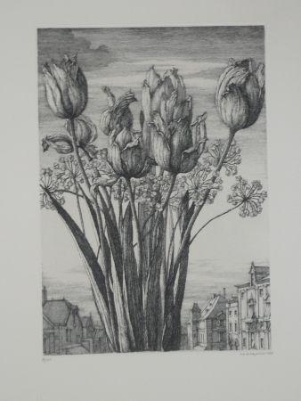 Aguafuerte Desmazières - Les tulipes