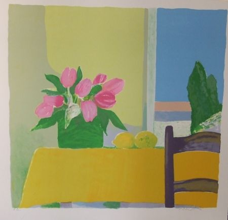 Litografía Muhl - Les tulipes jaunes.