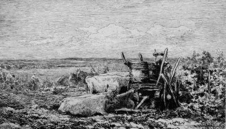 Aguafuerte Daubigny - Les vendanges. (Souvenir du Morvan)