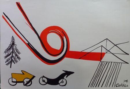 Litografía Calder - Les voitures