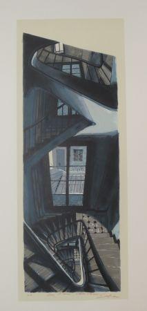 Litografía Szafran - L'escalier de Saint germain