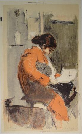Litografía Falk - Lesende in rotem Kimono