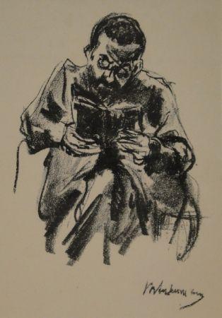 Litografía Liebermann - Lesender Mann (Lesender Jude)