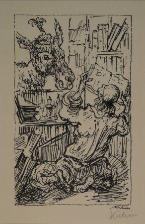 Litografía Kubin - Lesender und Esel