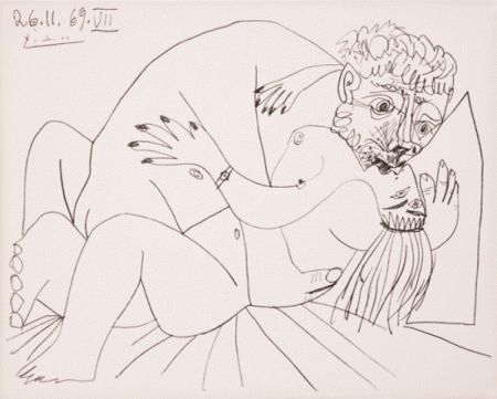 Litografía Picasso - L'etreinte Vii
