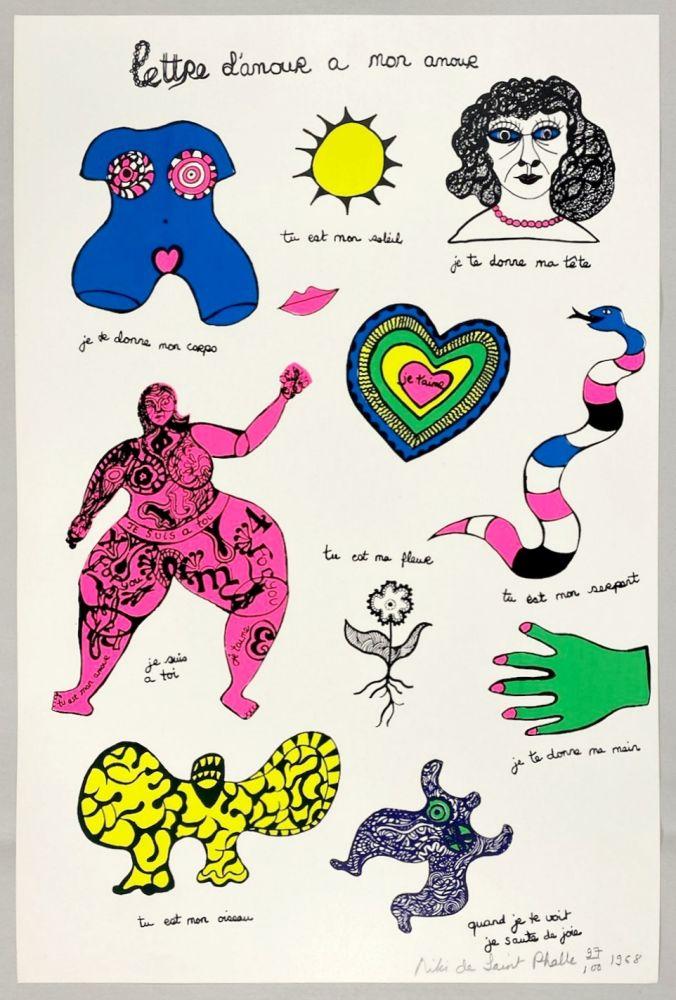 Serigrafía De Saint Phalle - Lettre d'amour à mon amour
