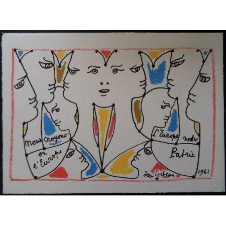 Litografía Cocteau - L'Europe multicolore