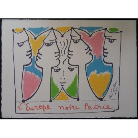 Litografía Cocteau - L'Europe pont des civilisations