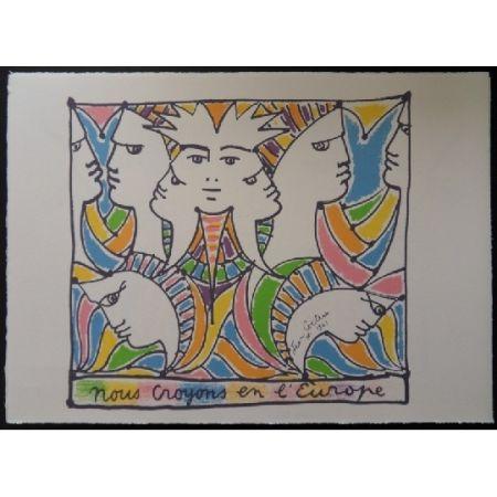 Litografía Cocteau - L'Europe tournée vers le monde